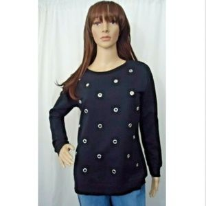 🐧Ultra Flirt Grommet  Sweatshirt Black Pullover